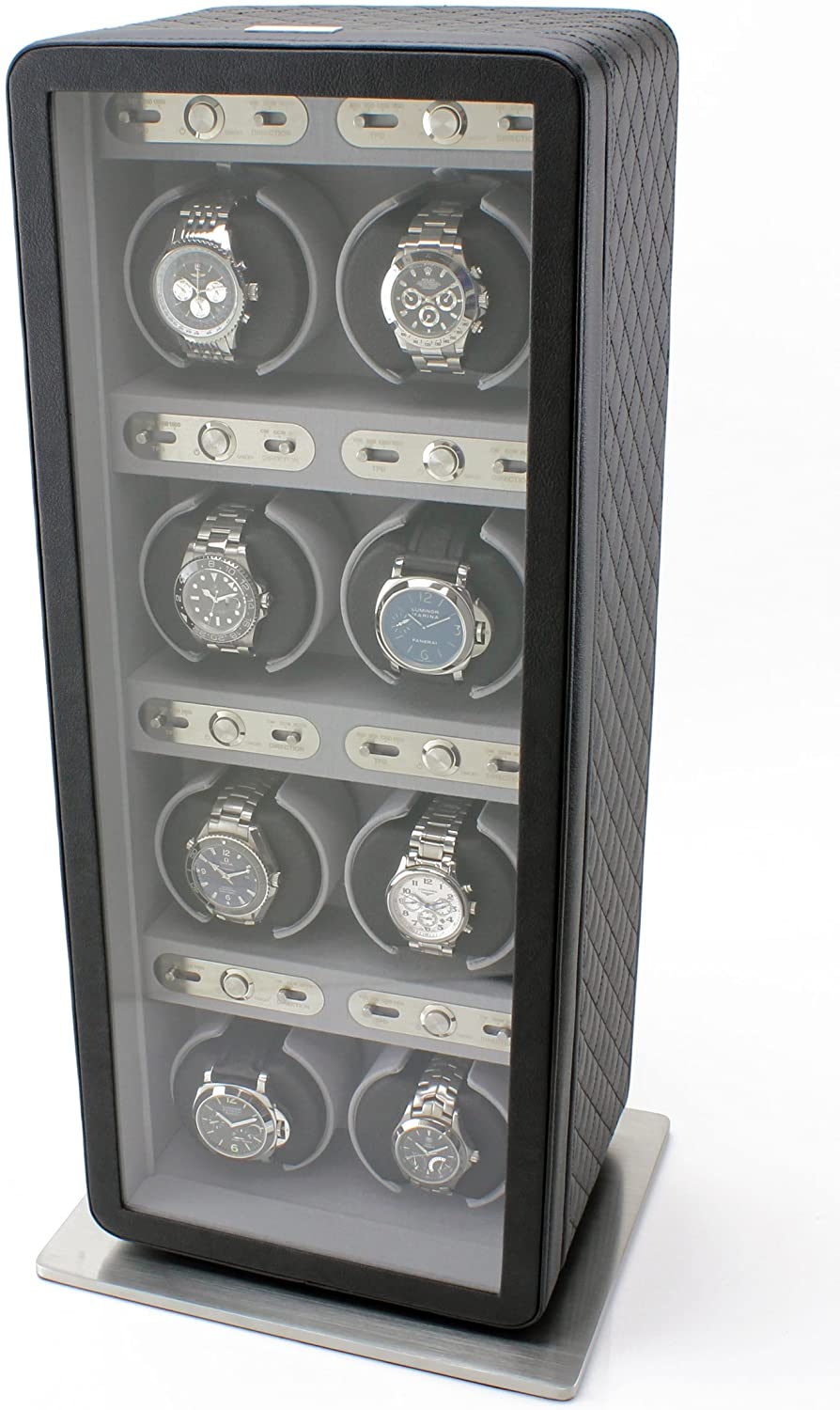 Heiden Monaco Eight Watch Winder in Black Leather