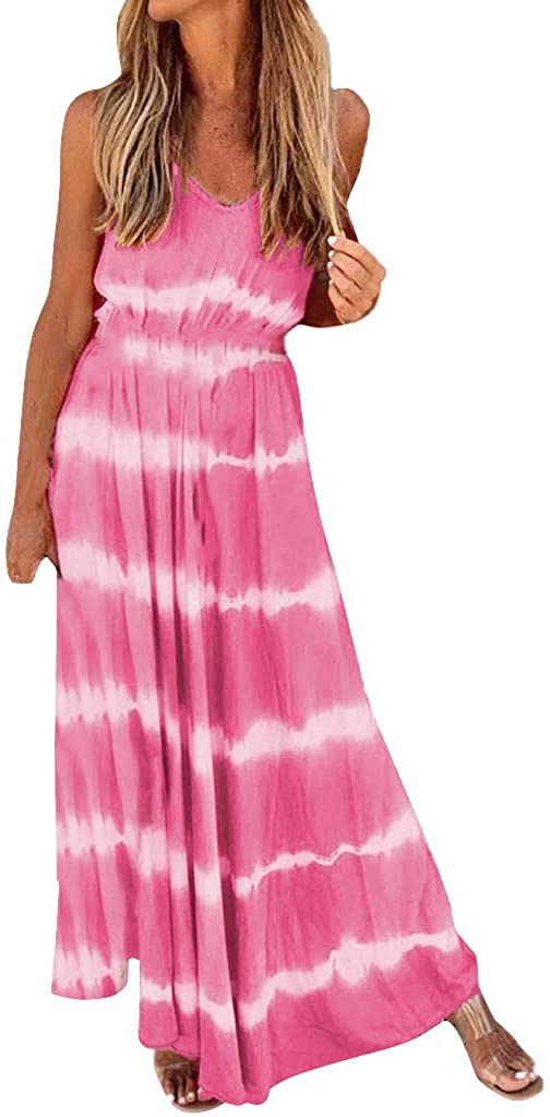 iMakCC Gradient Stripe Print Long-Sleeved Swing Maxi Dress Ankle-Length Short Sleeve O-Neck Pullover Casual Maxi Dress