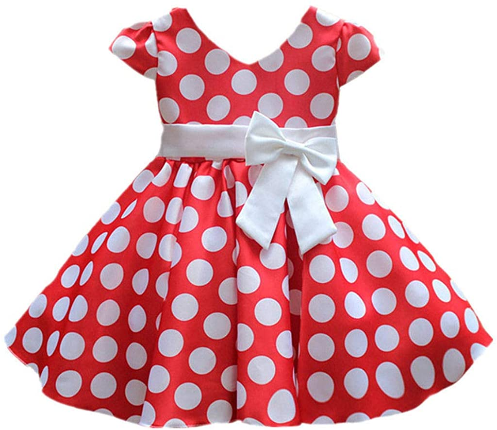 Princess Dress Casual Puff Vintage Polka Dot Bow Skirt 1-10 Years Little Girls Color RED
