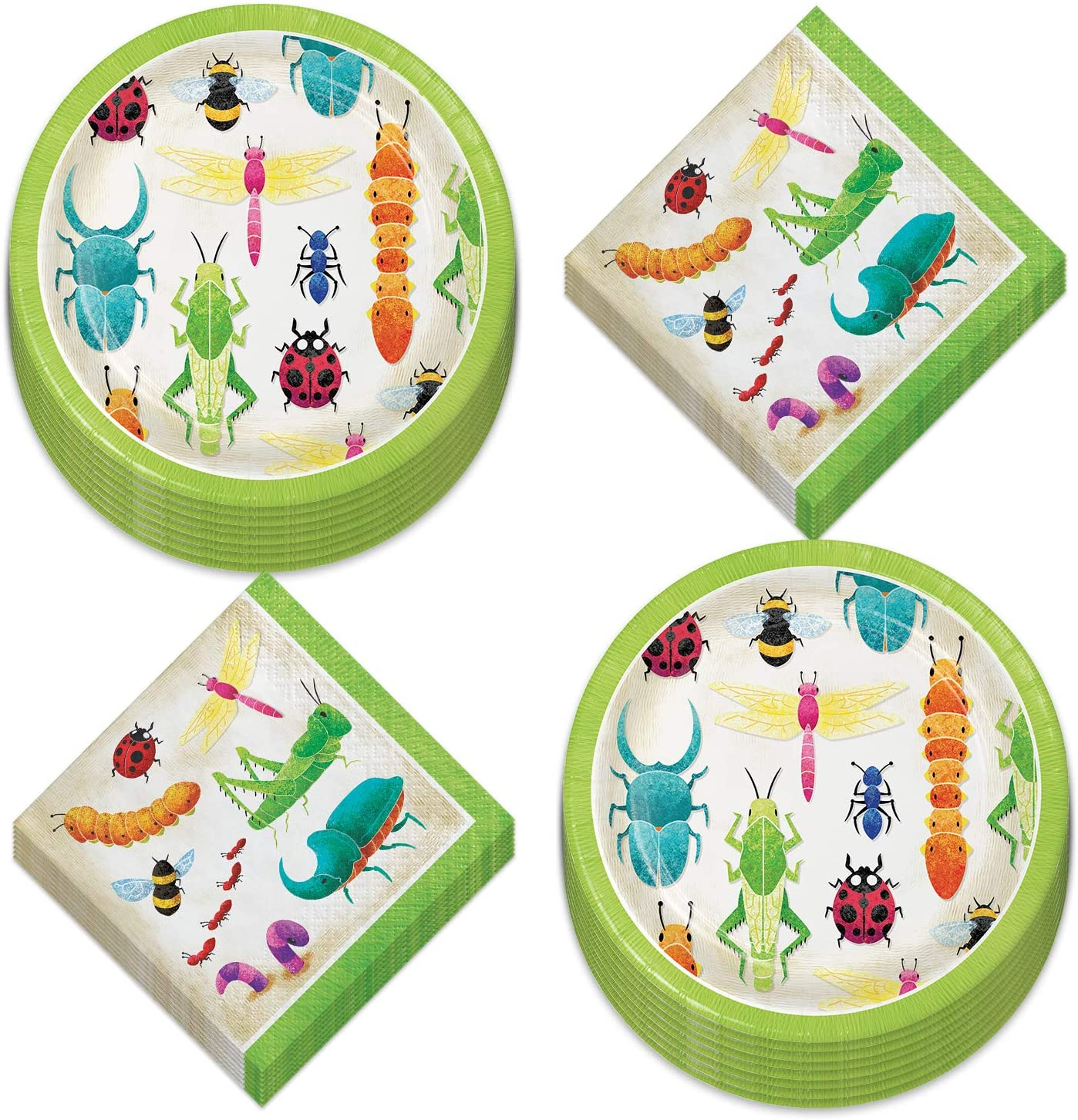 Insect Party Supplies - Bug Party Paper Dessert Plates and Beverage Napkins (Serves 16)