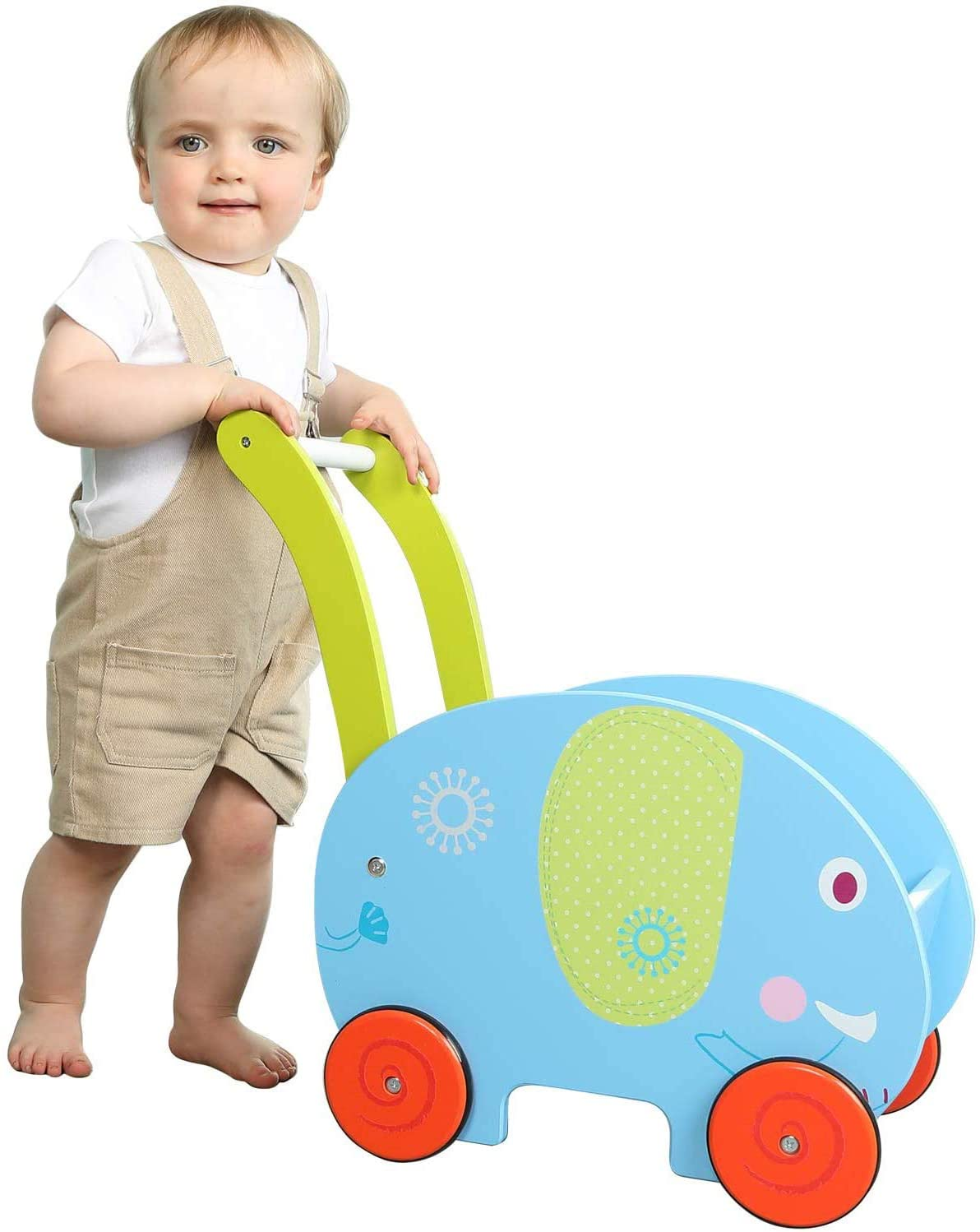 TOYSBBS Baby Walker Toy for Girl&Boy, Push/Pull Wagon Cart for Kid, 4 Wheels Learning Walker Blue, Elephant Push Toy Stroller for Toddler 1-3 Years Old, Toy Shopping Cart, Wooden Toy Wagon for Infant