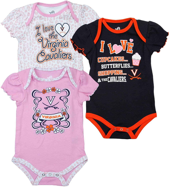 Outerstuff Virginia Cavaliers NCAA Infant Girls(0-18M) Bodysuit 3 Pack Set