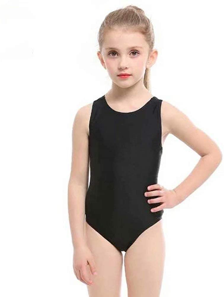 Easylife Swimsuits for Kid Girl One-Piece Swimwear Black Bathing Suit Shoulder Straps