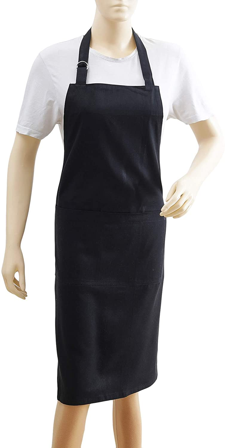 Kitchen Apron, 100% Cotton Apron For Women & Men, Eco Friendly, Textured, Solid Black, Premium Quality Made With Fine Yarn, Size 26 X 35