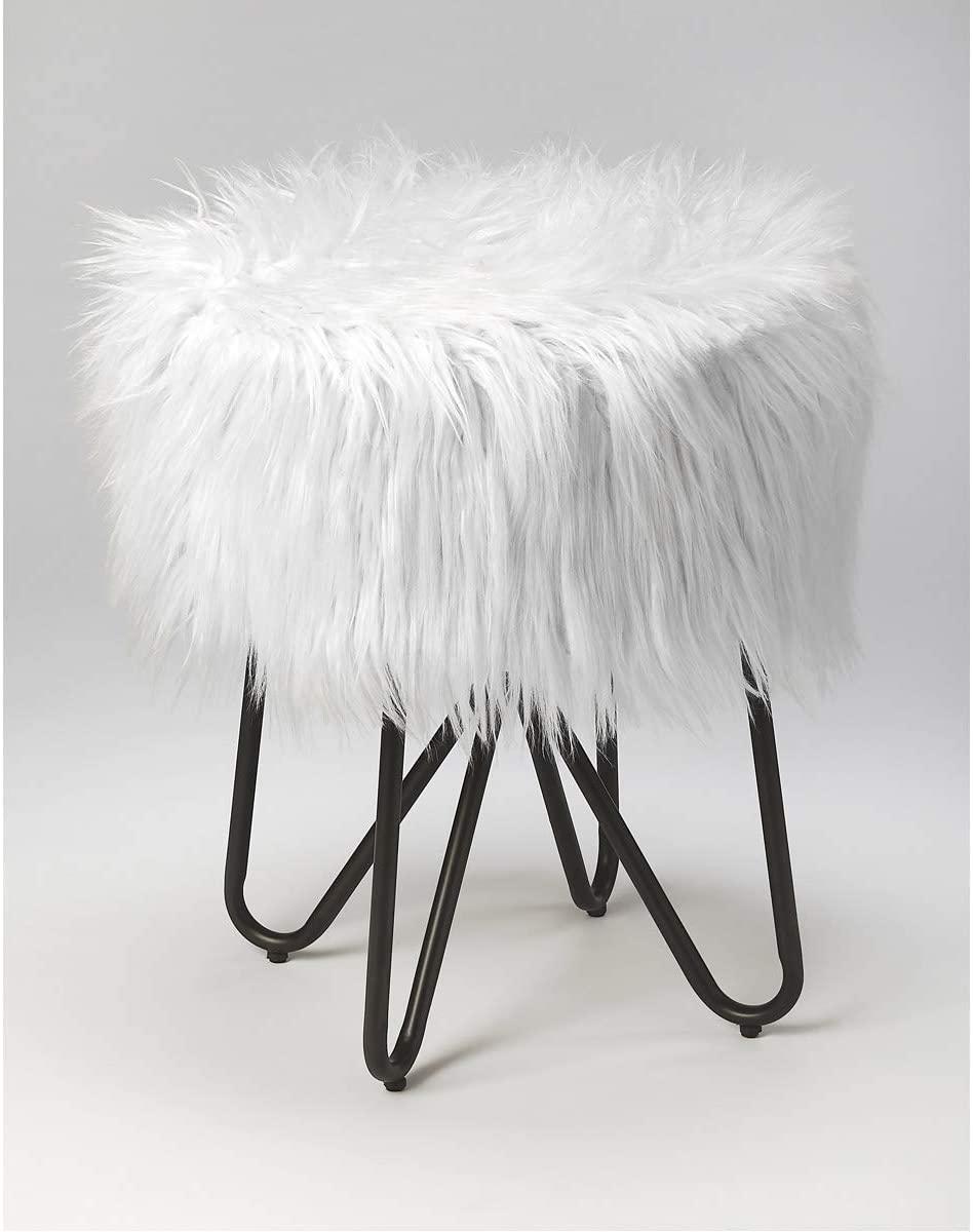 Butler Specialty Company Ezra Faux Fur Stool with Modern Hair Pin Leg Metal Base - White