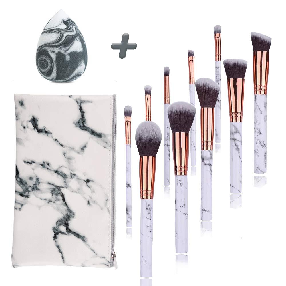 Animecos Marble Makeup Brushes Set 12 PCs Premium Synthetic Brushes Foundation Brush Blending Face Powder Blush Concealers Eye Shadows Make Up Brushes Kit With Make Up Sponge Cosmetic Bag White