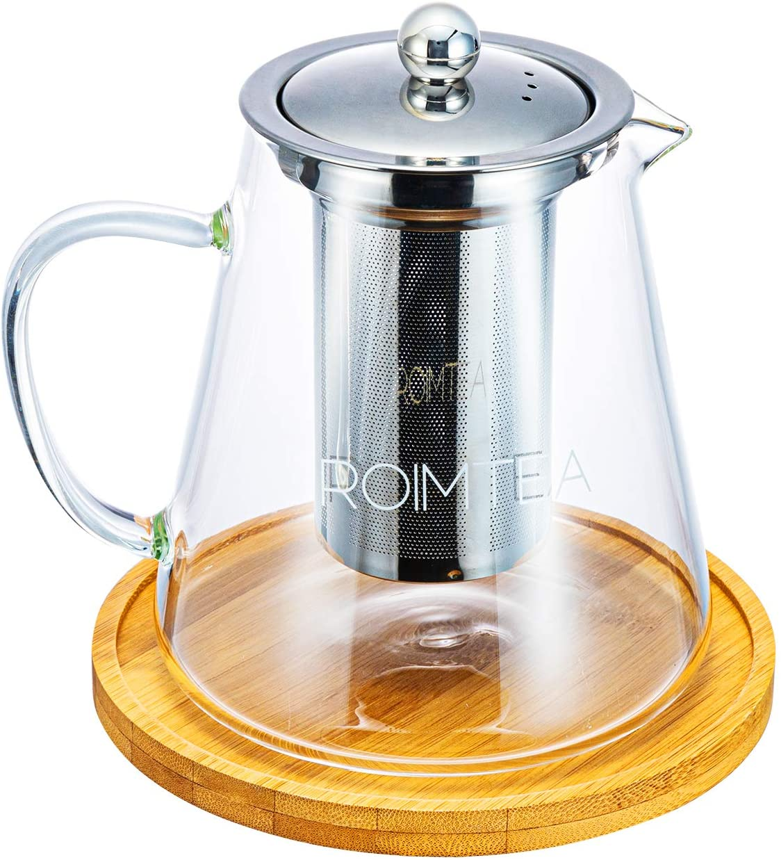 Glass Teapot with Stainless Steel Removable Infuser for Loose Leaf Tea, Tea Maker Brewer, Bonus Tea Kettle & Infuser Coaster, Microwave & Stovetop Safe, Gift Box, 950ml/32oz