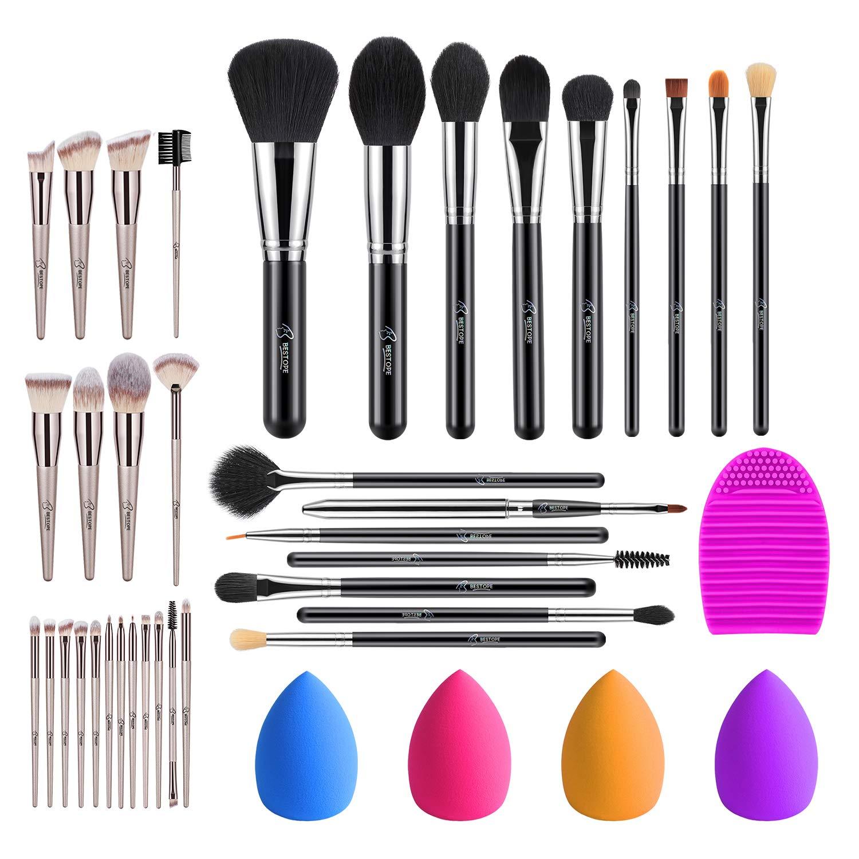 BESTOPE 16 Pcs Silver Makeup Brushes Set & 4 Pcs Beauty Blender Sponge Set & 1 Brush Cleaner & 20 PCs Champagne Gold Makeup Brushes