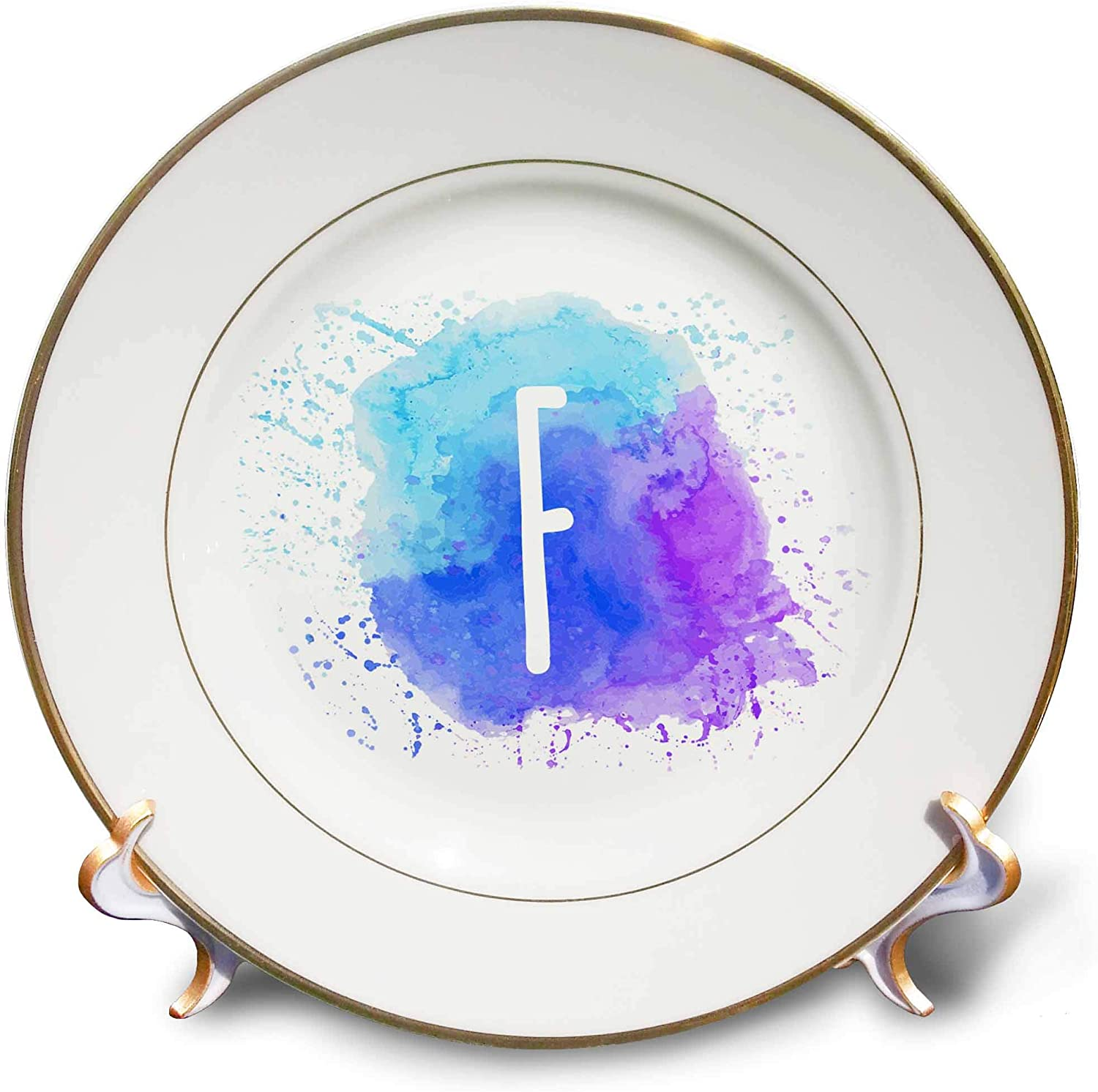 3dRose Stamp City - Typography - Monogram Letter F Inside a Teal, Blue, and Purple Paint Splash. - 8 inch Porcelain Plate (cp_324826_1)