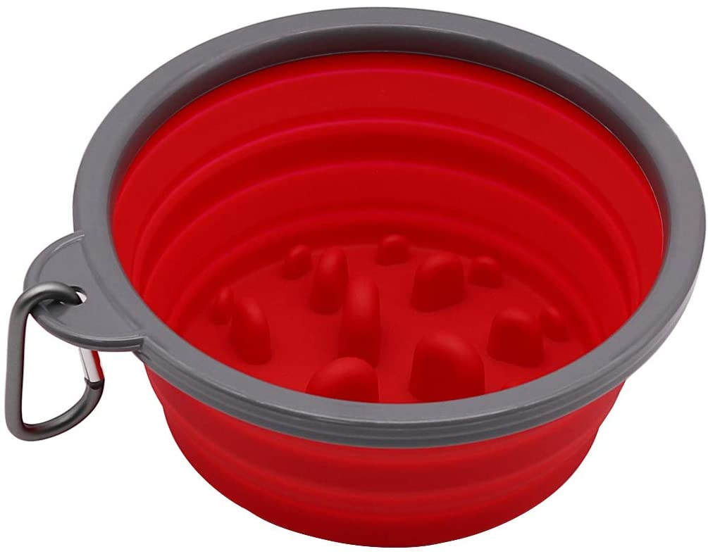 Collapsible Dog Bowl &Slow Feed Dog Bowl Stops Dog Food Gulping Bloat and Rapid Eating Red