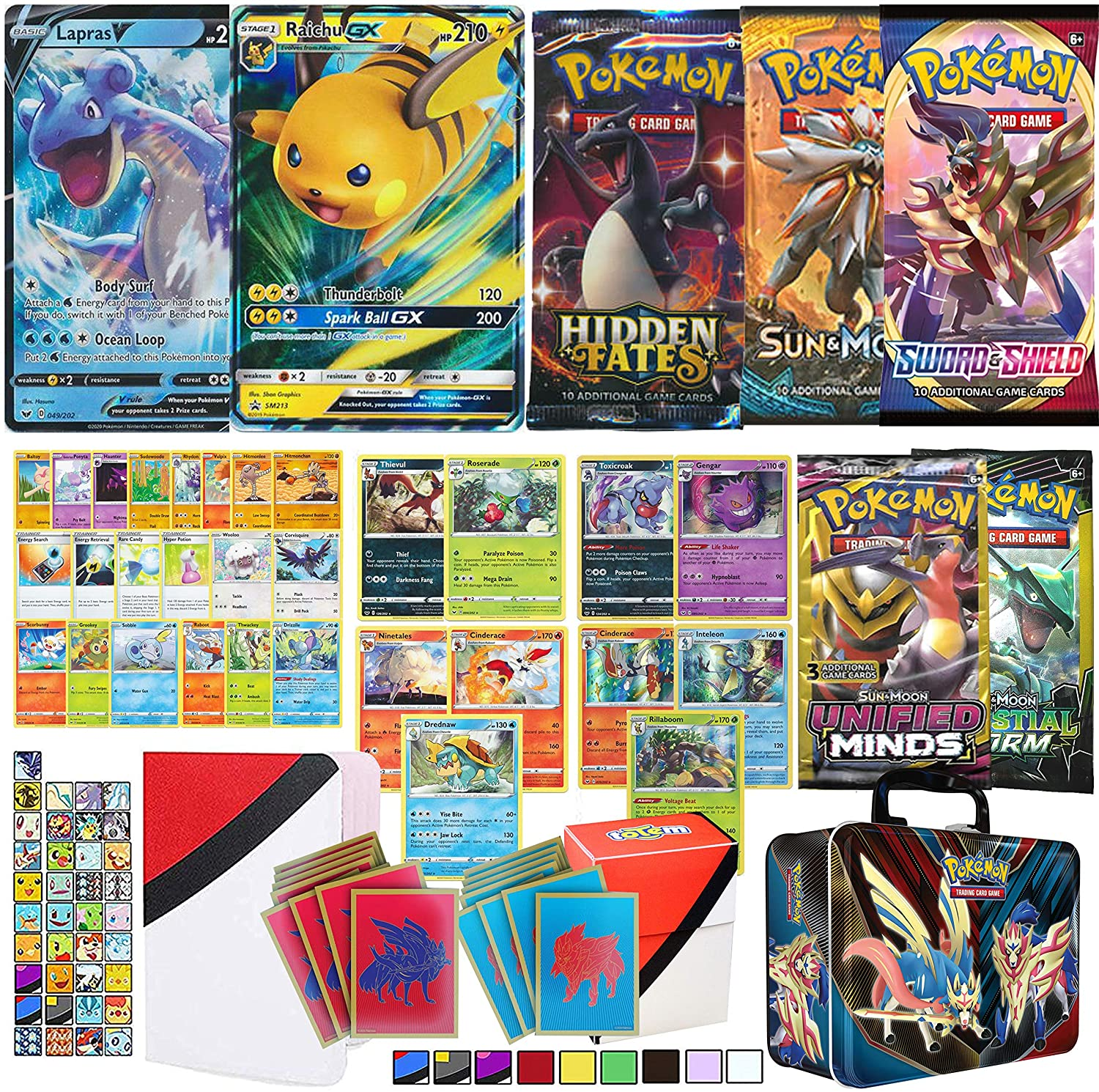 Totem World Collector Chest Bundle: Pokemon GX and V Card Guaranteed, 5 Pokemon Booster Packs Featuring Hidden Fates - Packed with 50 Additional Cards Rare Foil Deck Box Binder 65ct Card Sleeves