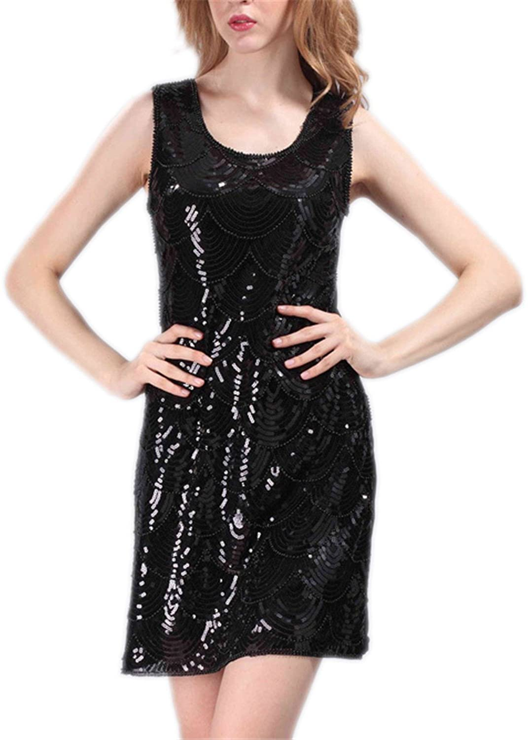 AS503anakla Fashion Spring Women Slim Sexy Elastic Gauze Noble Sequins Beading Scales Party Casual Dresses Black Blue QCD292