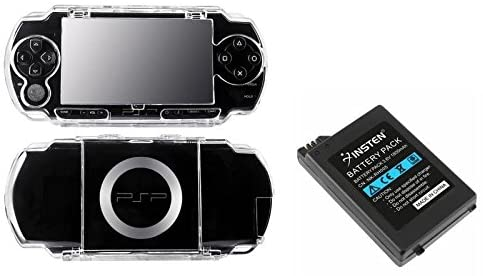 Rechargeable Battery+Clear Hard Case Cover For Sony PSP 1000