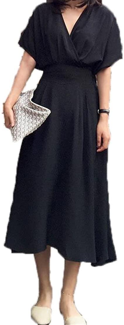 Yanick Mark Summer Long High Waist Female Dress Women Tunic V Neck Sexy Loose Dresses Clothes Fashion Korean Casual