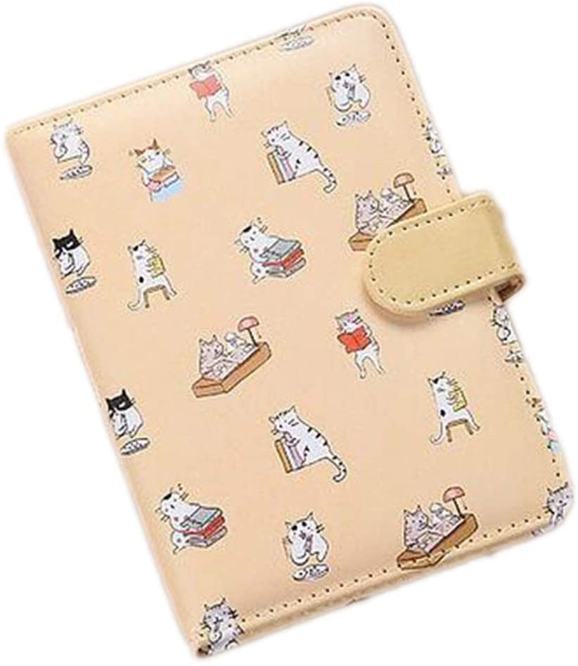 Cartoon Cat Leather Cover Lined Blank Colored Inner Page's Notebook Office School Schedule Stationery,D