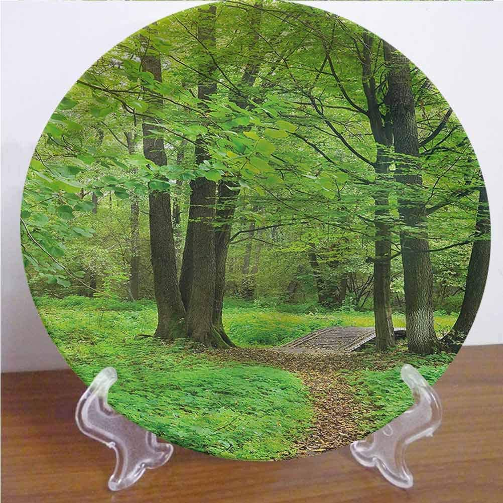Channing Southey 10 Inch Nature Customized Dinner Plate Summer Trees Tranquil Round Porcelain Ceramic Plate Decor Accessory for Pasta, Salad,Party Kitchen Home Decor