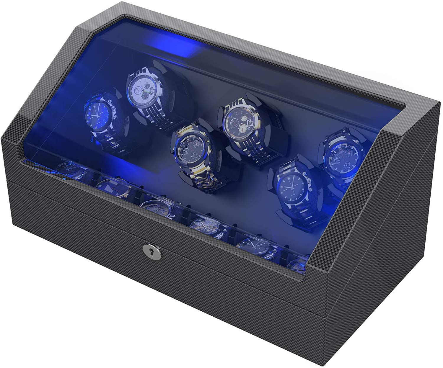 Watch Winder for 12 Automatic Watches with Flexible Watch Pillows, Built-in Led Light, with 6 Oversized Pillows and USB Cable for Portable Power