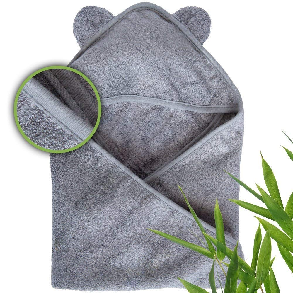 Moon and Baby - Baby Hooded Towel for Boys and Girls, Soft Organic Bamboo Hooded Baby Towels for Baby w/Sensitive Skin - Perfect, A Toddler and New Born Essential (Gray)