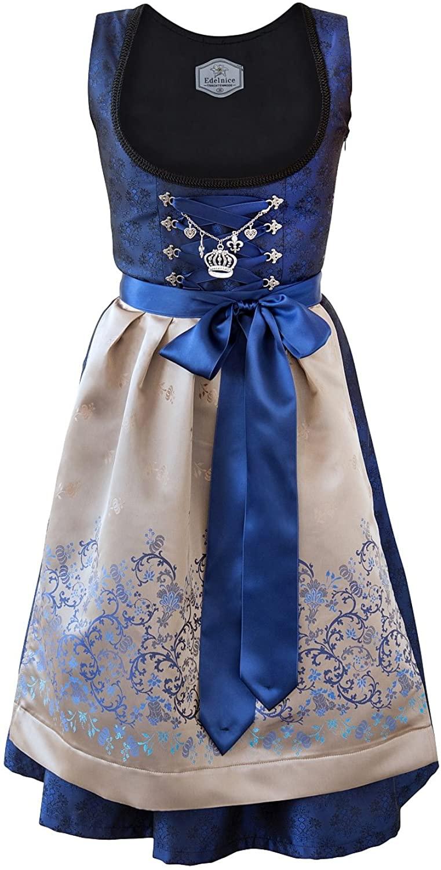 Bavarian Women's Midi Dirndl Dress 2-Pieces+ Apron RoyalBlue Gold