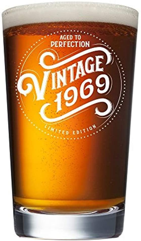 1969 51st Birthday Gifts for Men and Women Beer Glass - 16 oz Funny Vintage 51 Year Old Pint Glasses for Party Decorations - Anniversary Gift Ideas for Dad, Mom, Husband, Wife - Best Craft Beers Mug
