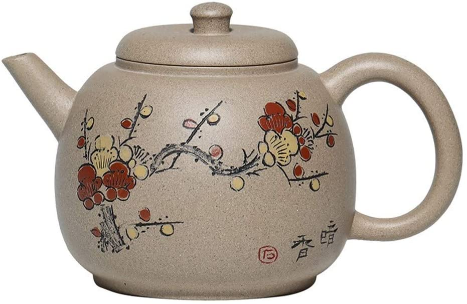 SHENLIJUAN Fine ore teapot green stucco painted plum Martin statue depicting mud pots (Color : Purple mud)