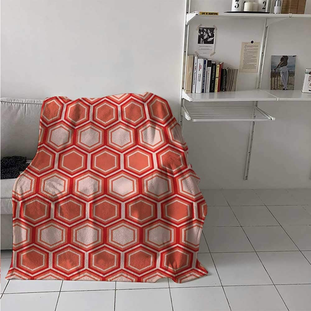 painting-home Blanket Hexagonal Comb Pattern Geometrical Tile Graphic Artwork Vintage Design Calming Blanket for Kid Baby Toddler Teenager Peach Coral Dark Coral 54 x 84 Inch