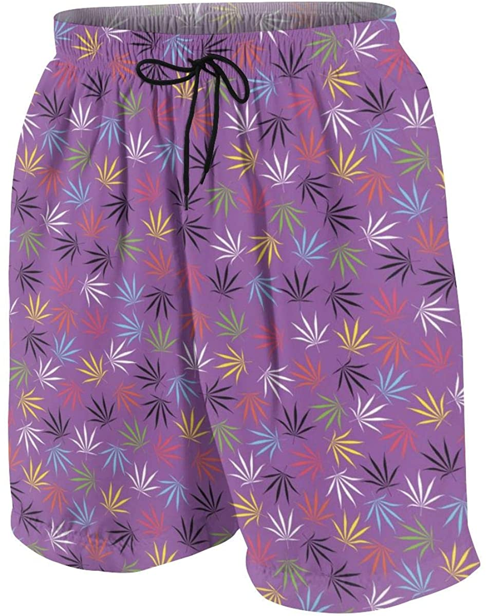 Merahans Color Cannabis Leaves On Purple Boys Girls Quick Dry Beach Board Shorts Funny Swim Trunk