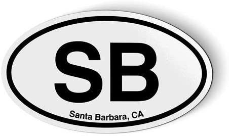 Stickers & Tees SB Santa Barbara California Oval - Car Magnet - 5