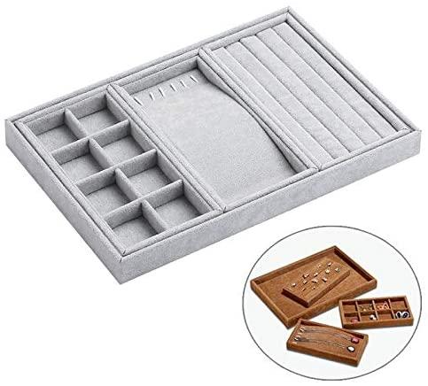 AEIOU Multi-Function Desktop Jewelry Suede Storage Box,35x24x3.5cm (Color : Grey)
