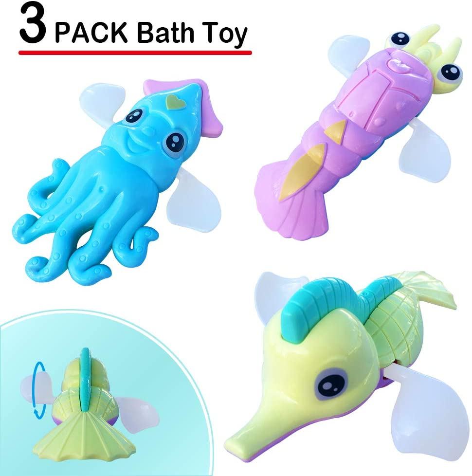 Wind Up Baby Bath Toys 3 Pcs Swimming Floating Sea Animal Bathtub Pool Toys Water Play Sets for Toddler Kid Boy Girl Hippocampus Lobster Squid