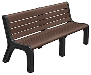 Kirby Built Products 6' Modern Recycled Plastic Park Bench - Inground Mount - Brown