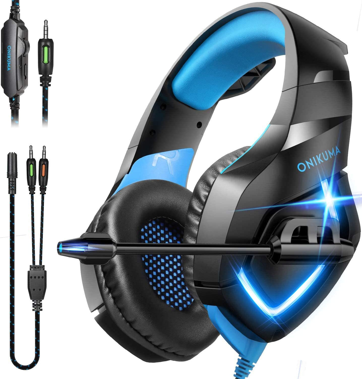 ONIKUMA Gaming Headphones PS4 Headset Gaming Headset Xbox one Headset Gaming Headphone with mic for PS4,GameCube,Mac,Xbox One(Adapter Not Included)
