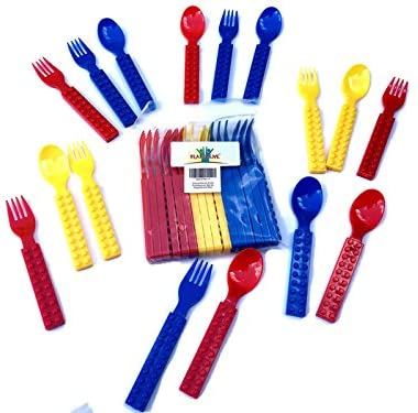 Kids Connecting Brick Party Fork & Spoon Set, by Playscene (1 Set)