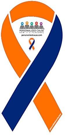 Orange and Blue Vinyl Automotive / Car / Truck / Refrigerator Cause Awareness Ribbon Magnet