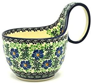 Polish Pottery Loop Handle Bowl - Sweet Violet