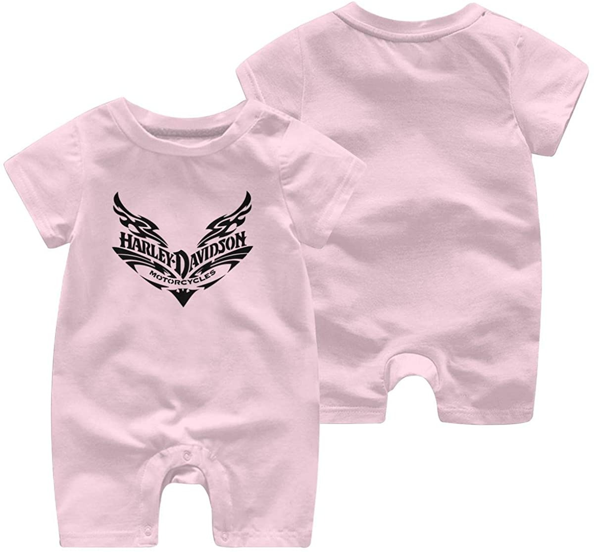 Harley Davidson One Piece Outfits Baby Solid Color Rompers with Button Kids Short Sleeve Playsuit Jumpsuits Cotton Clothing 2t Pink