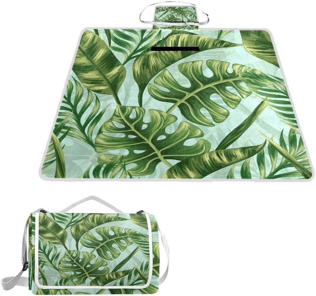 Naanle Summer Palm Tree Green Leaf Picnic Blanket Outdoor Picnic Blanket Tote Water-Resistant Backing Handy Camping Beach Hiking Mat