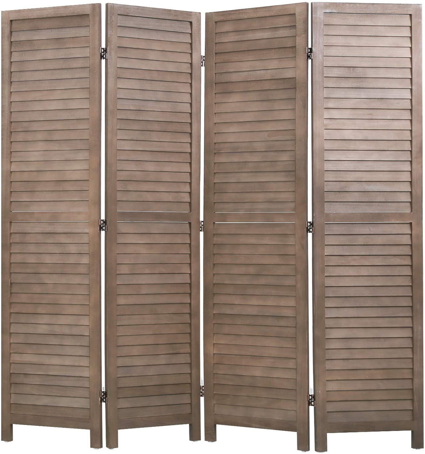 4 Panel Wood Room Divider 5.75 Ft Tall Privacy Wall Divider 68.9