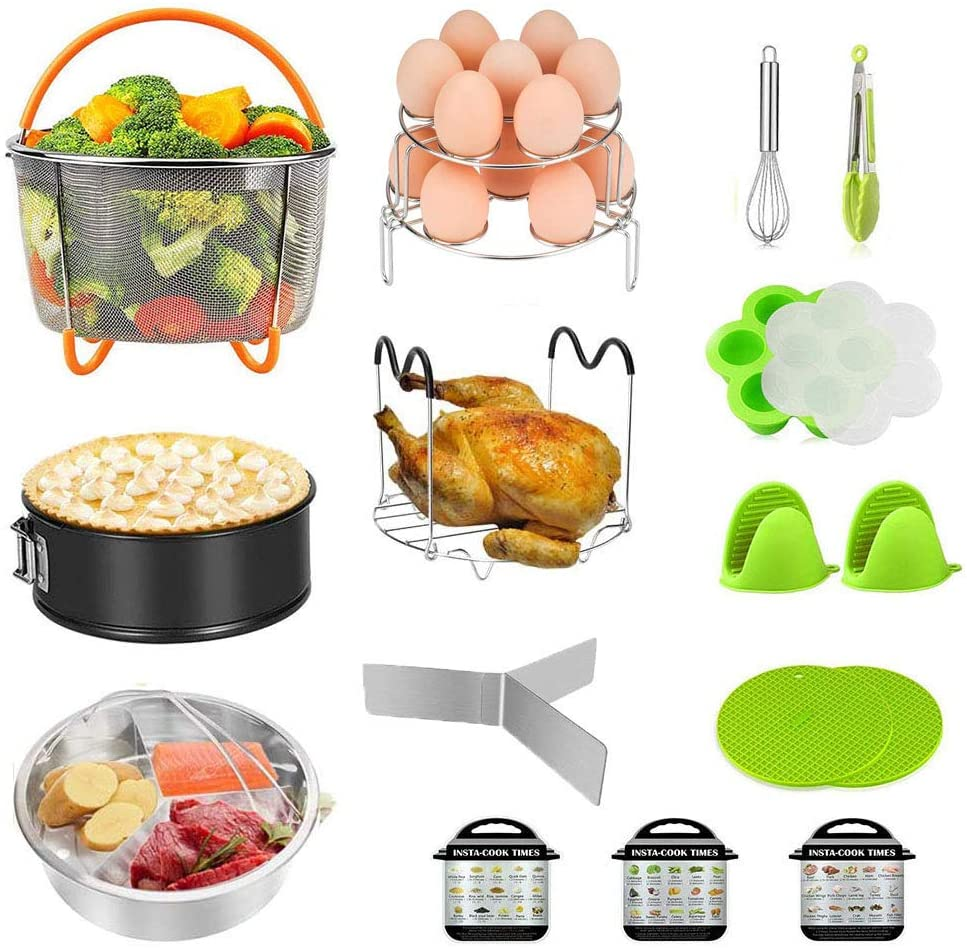 Accessories for Instant Pot,17 Pieces Pressure Cooker Accessories 5,6,8 Qt,Includes Non-Stick Silicone Egg Bites Mold,Stainless Steel Steamer Sasket,Steamer Rack Trivet