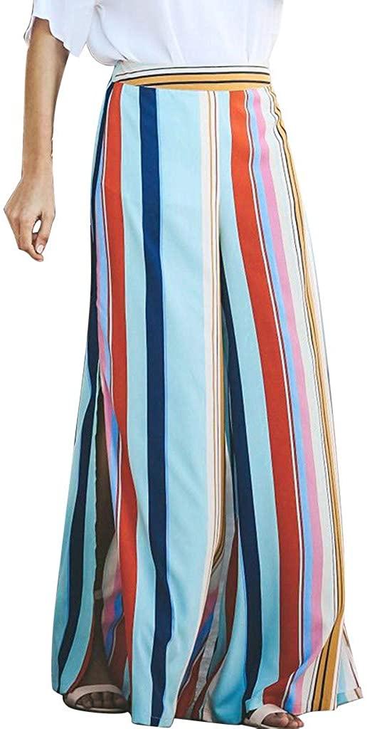 JOFOW Wide Leg Pants Women Colorful Vertical Stripe Loose Long Trousers