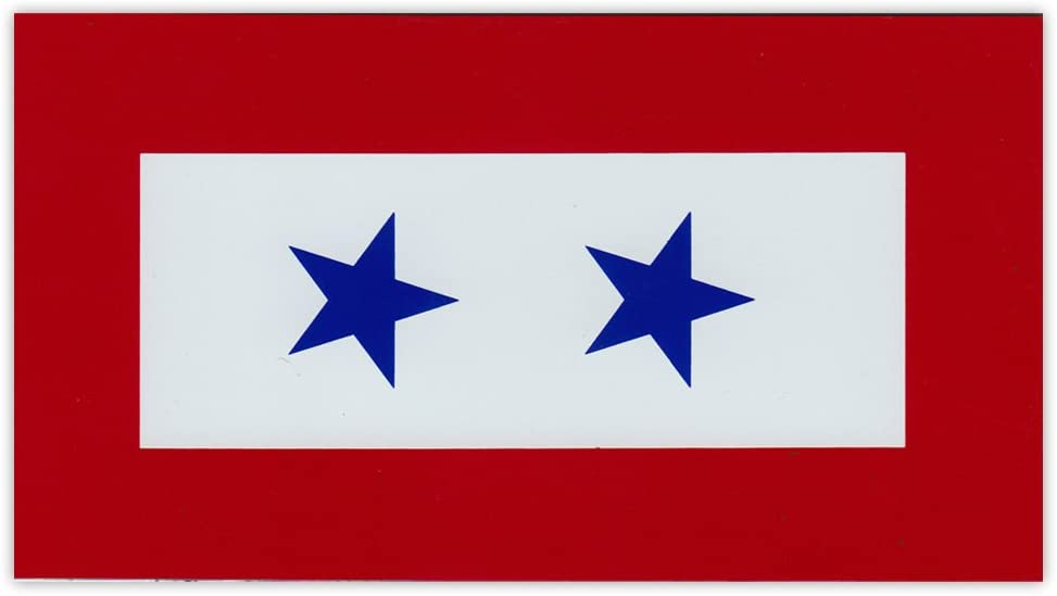 Magnetic Bumper Sticker - Blue Star Service Flag - 2 Blue Stars - United States Military Service - 5.5