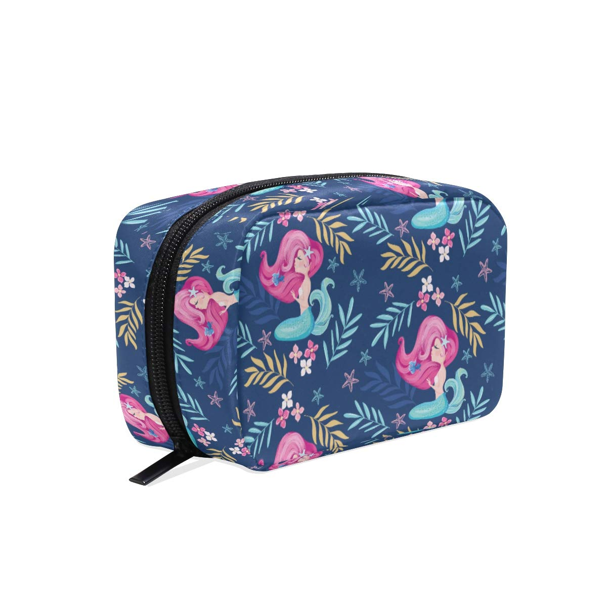 A Seed Cosmetic Bag Travel Makeup Case Cute Mermaid Navy Floral Flowers for Women Girls Toiletry Organizer Pouch Portable Handbag