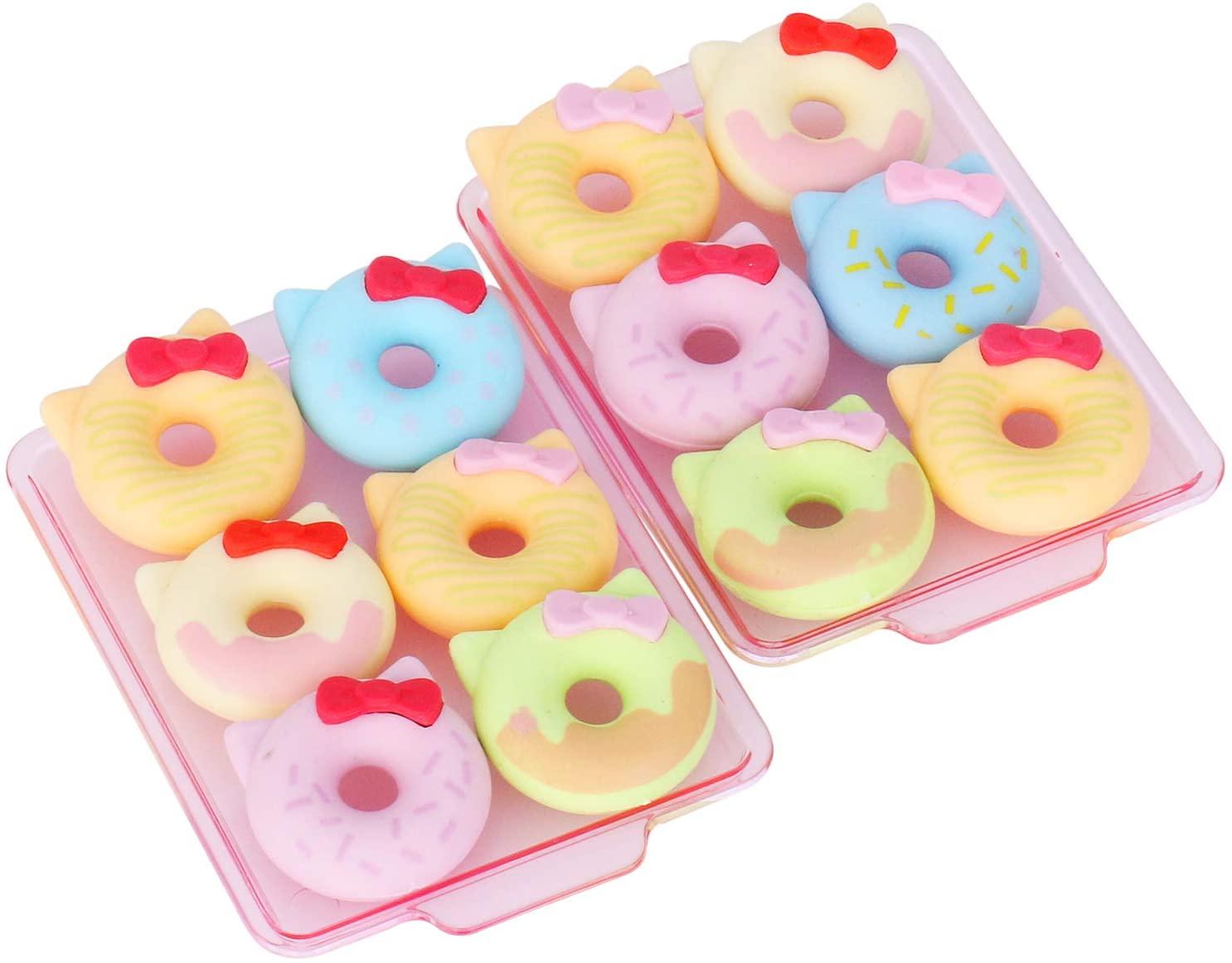 Cute Doughnut Pencil Erasers for Kids, 12 pcs