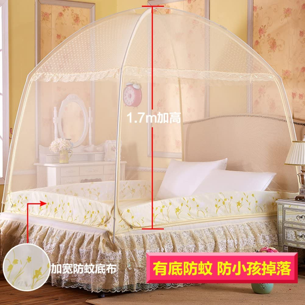 WENZHANG Baby mosquito net,Round fly screen Mongolian bed nets Three-fold door zipper nets Single student dorm home double netting curtains keeps away insects & flies-yellow Twinch2