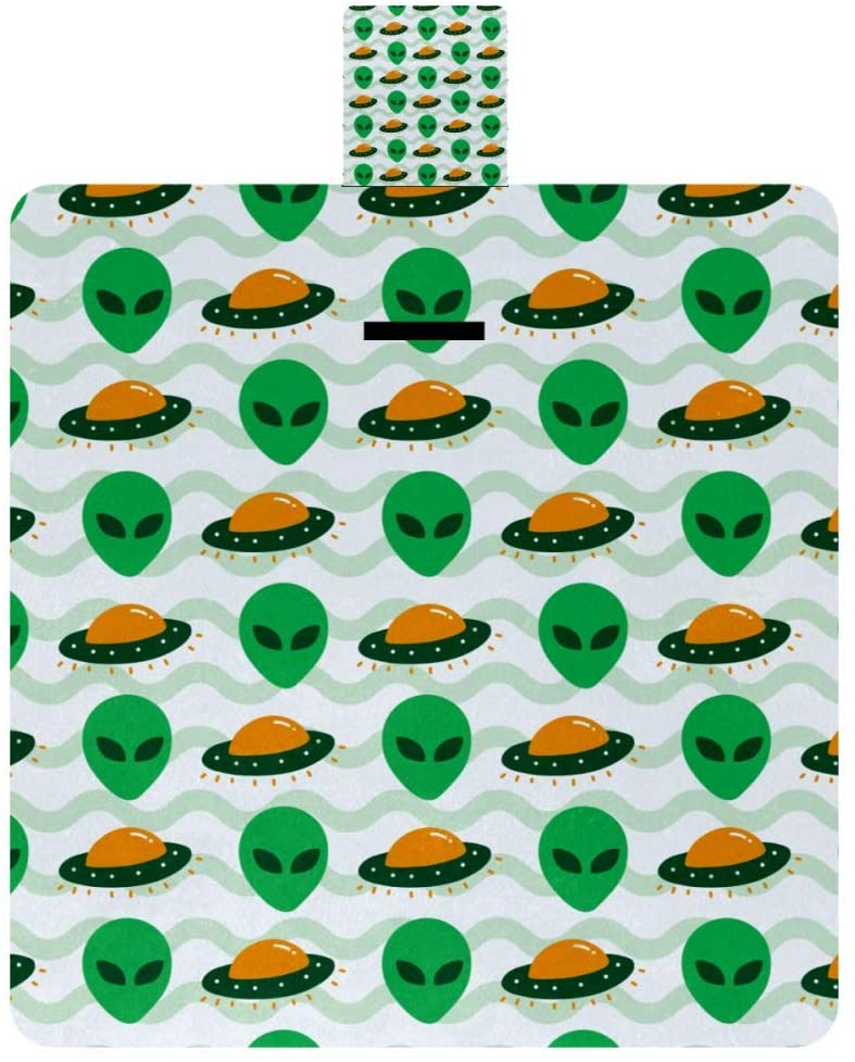 MAPOLO Alien UFO Invasion Spaceship Picnic Blanket Waterproof Outdoor Blanket Foldable Picnic Handy Mat Tote for Beach Camping Hiking