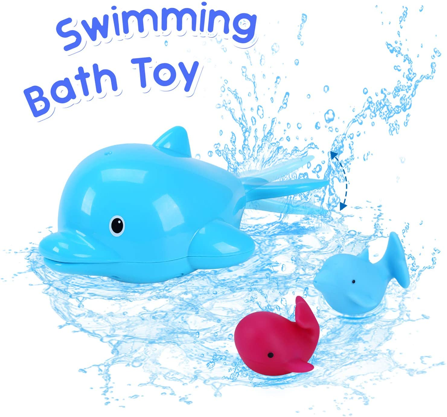 Minnebaby Swimming Bath Toys - Cute Paddling Dolphin, Squirting, Light-Up Toy - Colorful Bathtub and Pool Play Time Floating Accessories for Babies and Toddlers - Safe and Non-Toxic