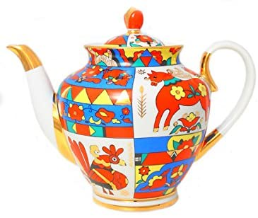 Lomonosov Porcelain Teapot Spring Folk Designs 67.6 oz/2000 ml