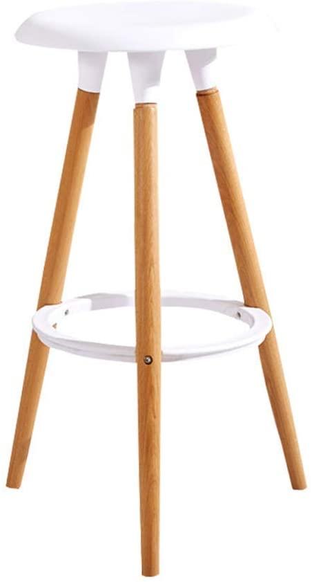 HOMRanger Bar Stool, Solid Wood Bar Stool, Balcony Lounge Chair, Simple Bar Furniture (76cm) (Color : White)