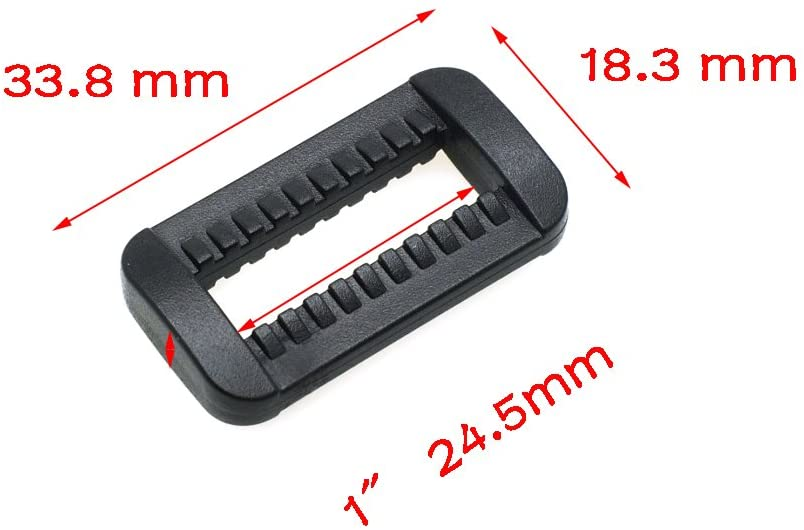 10pcs/Pack Plastic Black Loops Looploc Buckles Rectangle Rings Backpack Straps Webbing Bag Parts Webbing Size (1