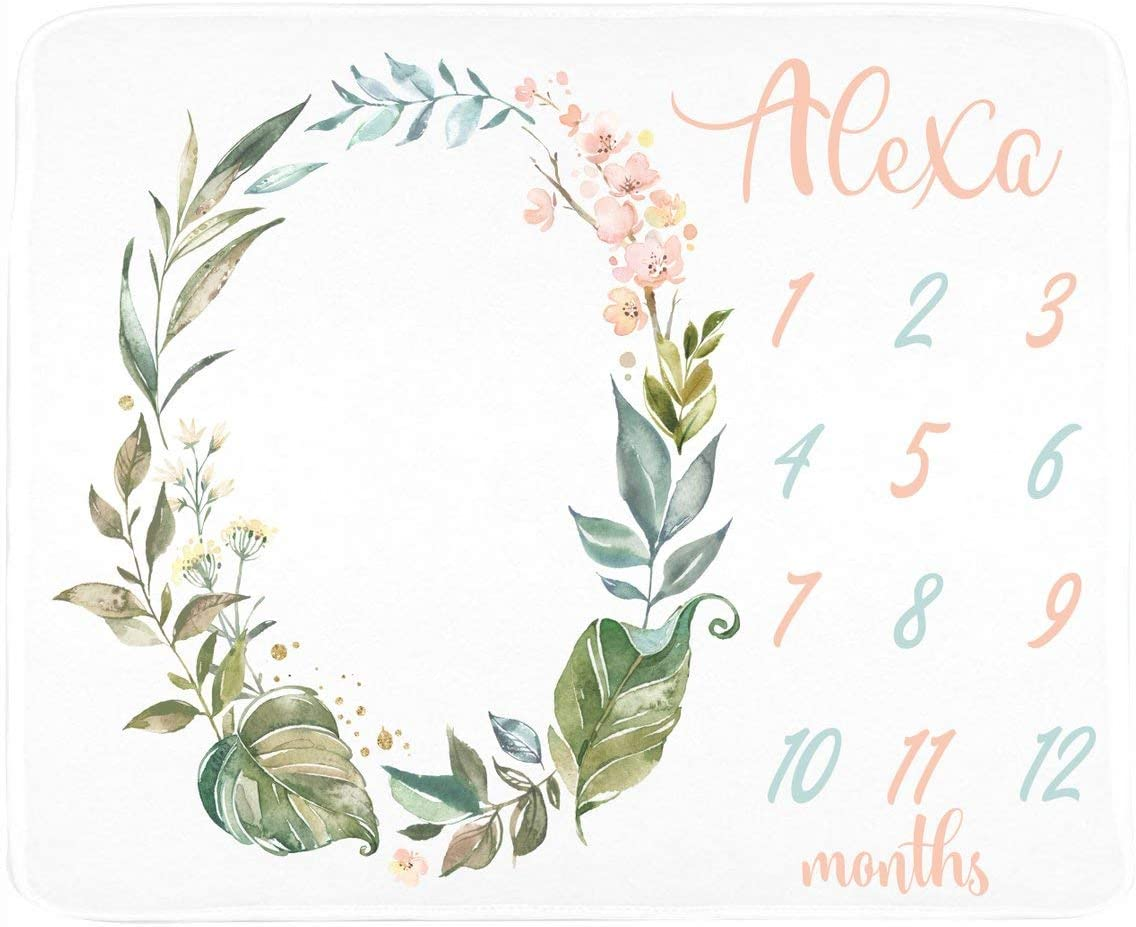 Baby Girl Milestone Blanket Personalized - Personalized - Wreath Design - Pastel (30